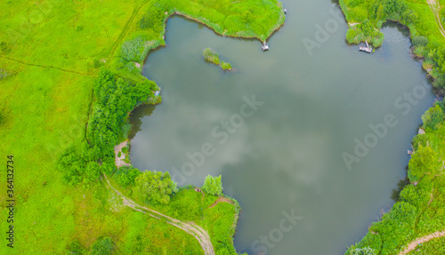 Fotografia Aerial view of natural pond surrounded by pine trees