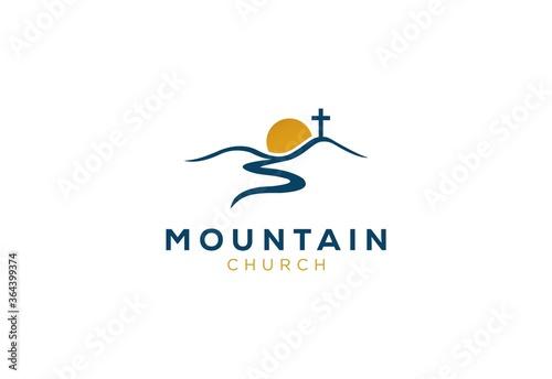 Cuadros en Lienzo church logo designs mountain with sun