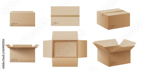 Wall mural Realistic cardboard box mockup set from side, front and top view