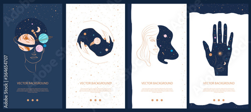 Fotografija Collection of space and mysterious illustrations for stories templates, Mobile App, Landing page, Web design in hand drawn style