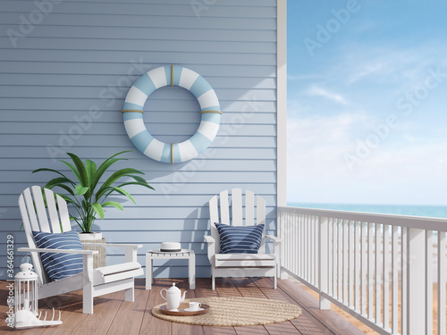 Carta da parati House terrace by the sea 3d render,There has wooden floors,blue plank walls decorated with swim ring,Furnished with white wood furniture , overlooking the beach and sea view