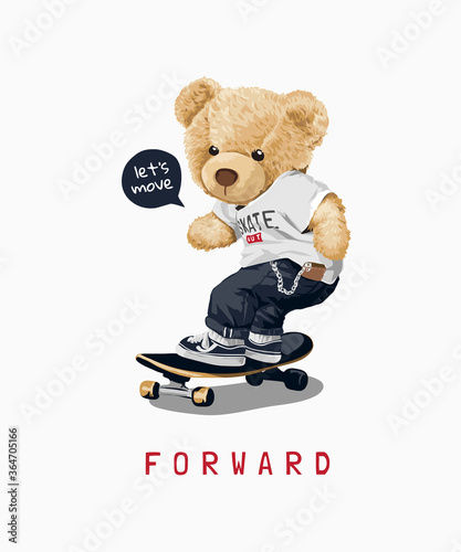 cute bear toy on skateboard illustration