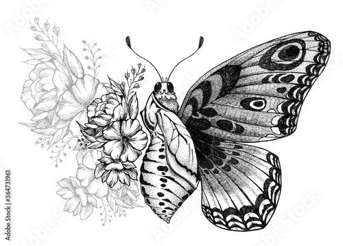 Leinwand Poster Butterfly tattoo design with flowers