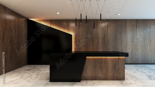 Photo Front view reception desk office 3d rendering