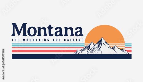 Canvas Print Montana mountain illustration, outdoor adventure