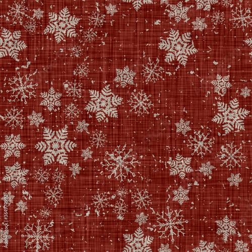 Fotografia, Obraz Rustic seamless farmhouse linen printed winter background