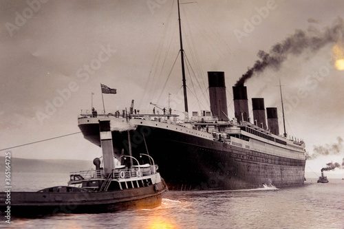 Canvas Print BELFAST, NI - JULY 14, 2016: Documental picture of Titanic in the Titanic Belfast, visitor attraction dedicated to the RMS Tinanic, a ship whic sank by hitting an iceberg in 1912