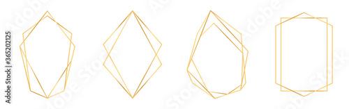Fotografering Set of golden geometric frames in art deco style