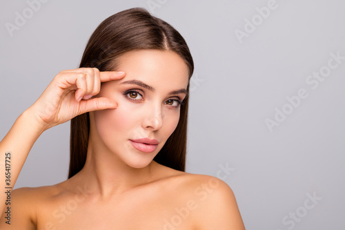 Closeup photo of beautiful lady nude naked shoulders plump shape lips tempting a Fototapeta