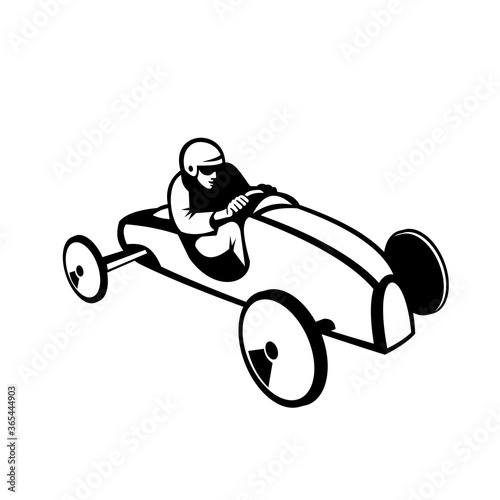 Foto Soap Box Derby or Soapbox Car Racer Racing Retro Black and White