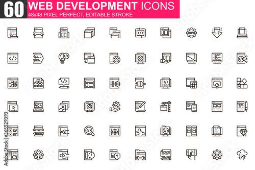 Obraz na plátně Web development thin line icon set