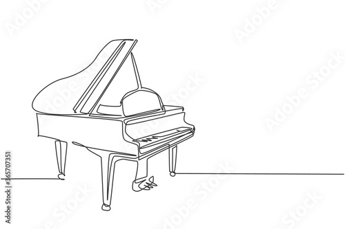 One continuous line drawing of luxury wooden grand piano Fotobehang