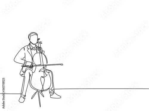 Foto One single line drawing of young happy male cellist performing to play cello on classical orchestra theater