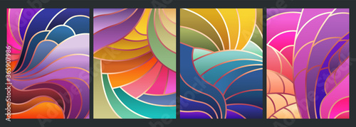 Obraz na plátne Stained Glass Style Background, Colorful Mosaic Patterns, Wavy Shapes, Gradients