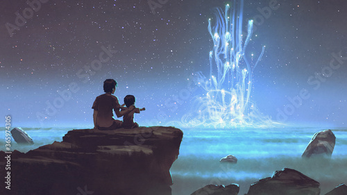 two brothers sitting on the cliff and looking at the mysterious glowing light