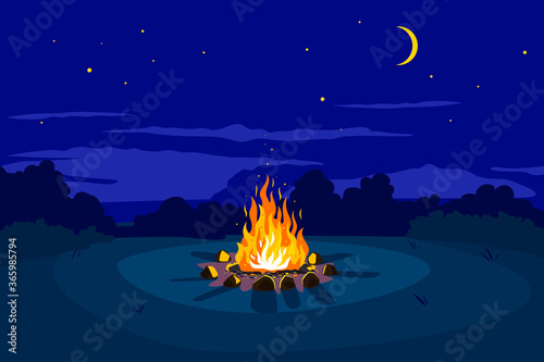 Campfire at night on glade and stars on sky with young moon, place for camping n Fototapeta