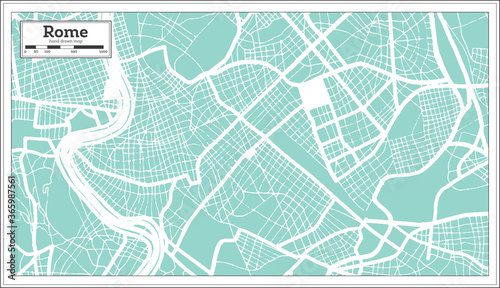 Obraz na plátně Rome Italy City Map in Retro Style. Outline Map.