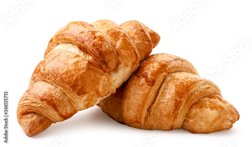 Fotografía Fresh croissant on a white background. Isolated