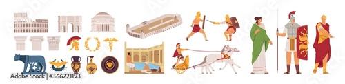 Foto Ancient Rome Empire symbols and characters set vector illustration