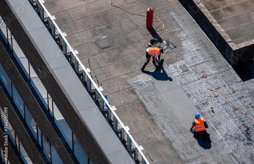 Murais de parede Birds eye view of a roof construction site