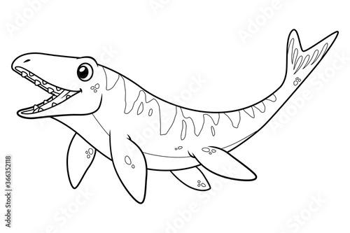 Платно Little Mosasaurus Cartoon Illustration BW