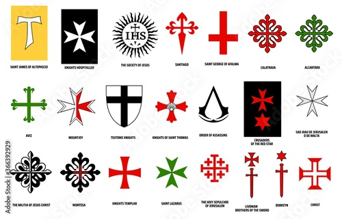 Carta da parati Orders of chivalry vector design of military and religious orders of knights