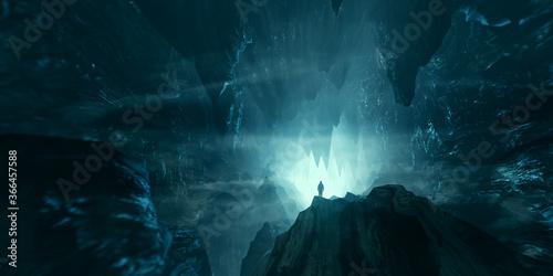 Fotografie, Tablou man exploring dark fantasy cave 3d illustration