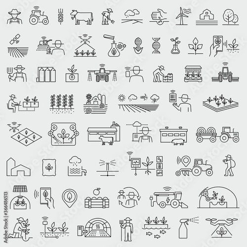Canvas Print Smart farming and agriculture thin line vector icons set