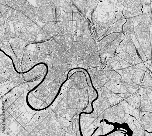 Fotografie, Obraz map of the city of Moscow, Russia