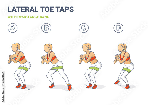 Carta da parati Lateral Toe Taps with Resistance Band Girl Silhouettes