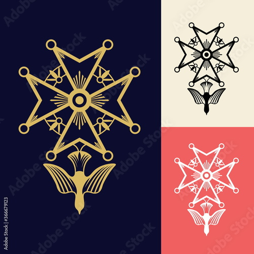 Fotografia The Huguenot cross is a Christian religious symbol originating in France and is one of the more recognisable and popular symbols of the evangelical reformed faith