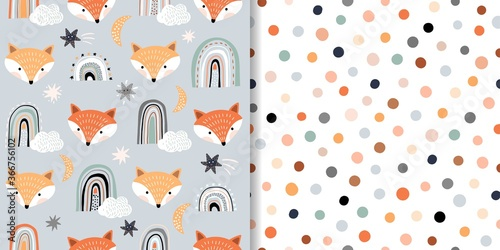 Seamless patterns set with animals and stars, baby decorations