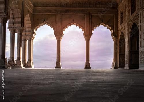 Billede på lærred Architecture columns with beautiful sky in background