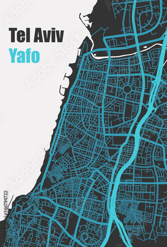 Fotografie, Obraz Stylish vector high-tech map of Tel Aviv - Yafo