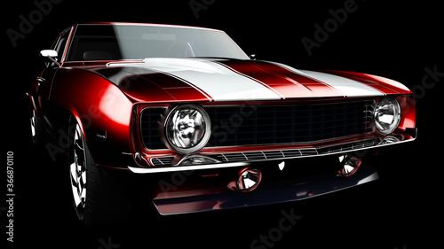 3D illustration. Muscle red car rendering isolated on black background. Vintage classic sport car. Car show. Wheels. Bumper. Front perspective view. Chevrolet camaro. Realistic 3D rendering.