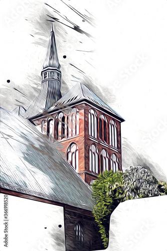 Canvas Print kolobrzeg old city, town hall, poland art illustration drawing sketch
