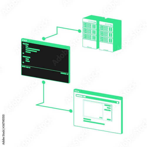 Obraz na plátně 3 dimention design working process of the website has working sections which are display program and database