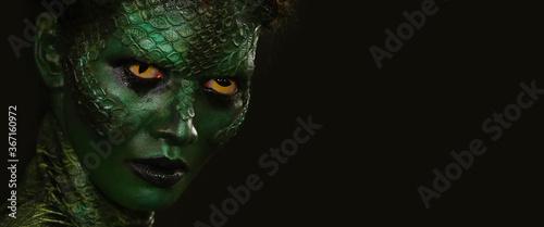 Slika na platnu Body art Wildlife concept, beauty make up snake concept