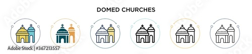 Valokuva Blue domed churches icon in filled, thin line, outline and stroke style