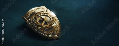 Fotografia Police officer badge on a dark background, 3D rendering, illustration