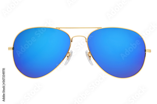 Fotografía Blue aviator sunglasses with golden frame isolated on white.