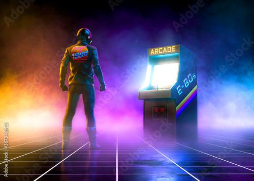 Foto Cyberpunk biker stands near an 80s cabinet arcade videogame on a grid pattern fl