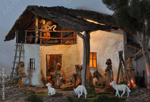 Leinwand Poster Krippe, Weihnachtskrippe, Geburt, Weihnachten, Jesus, Christen, Religion, Maria