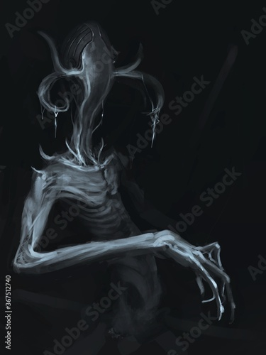 Fotografering Evil demon creature with thin arms stalking in the dark - digital fantasy painti