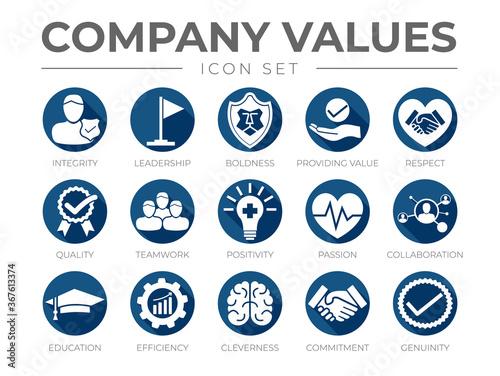 Canvas Print Business Company Values Flat Round Icon Set
