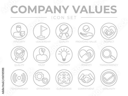 Obraz na plátně Thin Outline Company Values Round Gray Icon Set