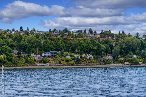 Photo Many Colorful Homes on Puget Sound near Seattle
