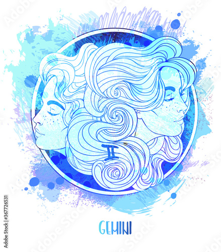 Obraz na plátně Watercolor drawing of Gemini astrological sign as a beautiful girl over paining