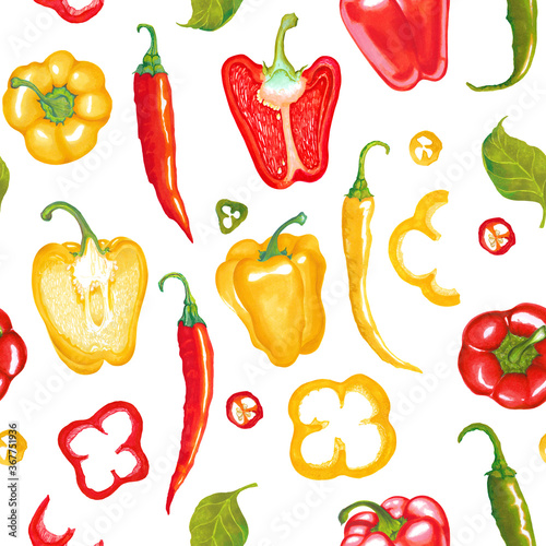 Fotografiet Watercolor illustration of red, yellow, green, paprika bell pepper chili pepper