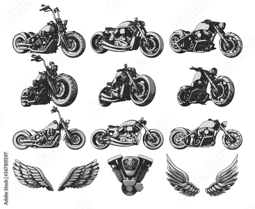 Fotografia Isolated set of custom motorcycles, wings and engine